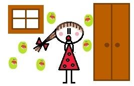 Rajzolt kislány, akit éppen megtámadnak a bacillusok