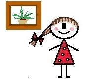 Rajzolt kislány, aki egy ablak előtt áll, és az ablakpárkányra van helyezve az aloe vera