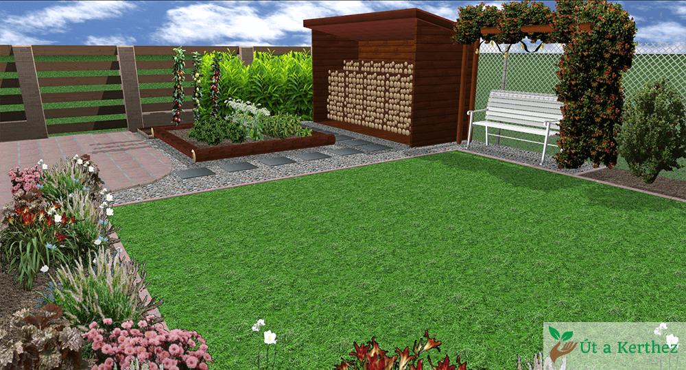 fatároló kerti paddal