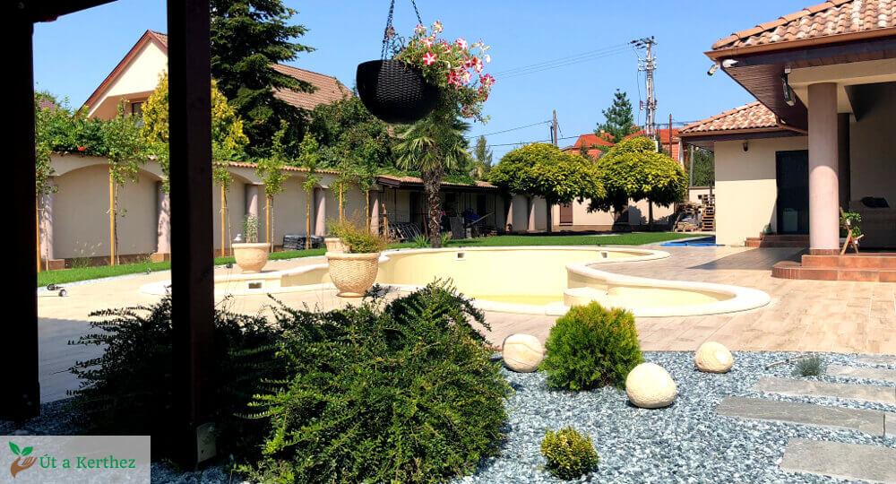 medencés terasz és kert